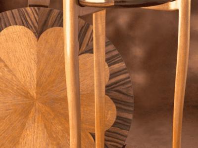 High Pedestal Table Mahogany & Macassar Ebony