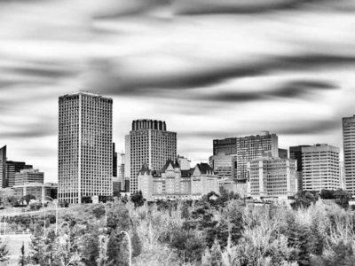 Panorama Skyline View of Edmonton, AB Long Exposure Photograph