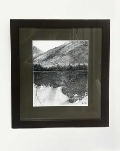 "Lake Landscape Mixed Media 9 1/2"" x 10 3/4"""