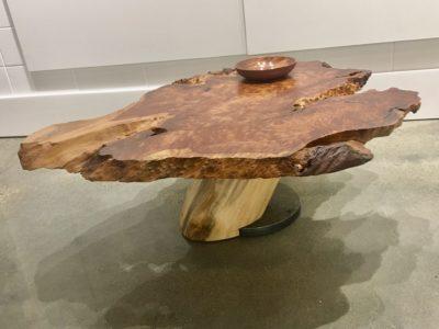 Plynth: Figured English Sycamore Table: Live Edge Redwood Burl w/Poplar & Steel Base