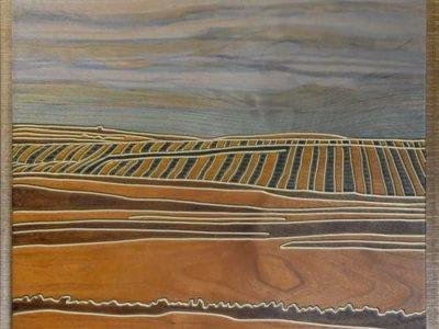 "A Prairie Seen #81 ""Above & Beyond"" 14.19"" x 16.44"" Cherry Veneer"