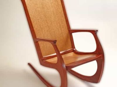 """Bubinga Contemporary Rocking Chair Bubinga with contoured Bird's Eye Maple Back & Seat Chair Measures 39"""" Tall with a floor foot print size of 20"""" x 34"""""""