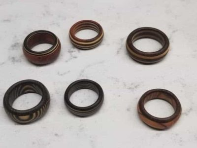 Rings: Wide variety of exotic woods.