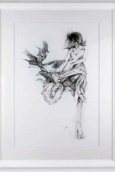 "Like A Bird   / Pencil / 29.5"" x 38"""
