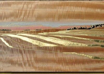 "A Prairie Seen - #34 - ""Pastel Horizon"" 16"" x 29.5"" 23 Karat Gold Gilding"
