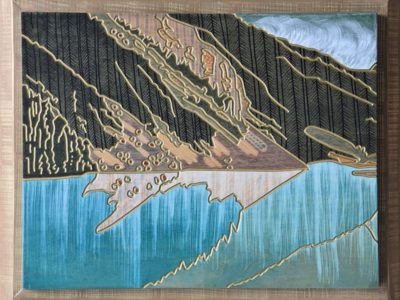 """""""ON THE MORNING SIDE OF THE MOUNTAIN"""" A MOUNTAIN SEEN 'D' Maple veneer face 12"""" X 15.5"""""""