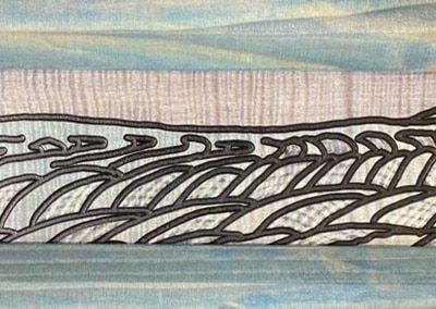 """""""Blues in Focus"""" A Prairie Seen #143 Figured Maple Veneer 18.19"""" x 6.125"""""""