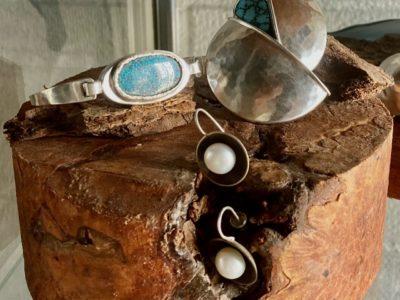 Freshwater & Sterling Silver Pearl Earrings Kinsman Black Web Turquoise & Sterling Silver #9 Turquoise & Sterling Silver