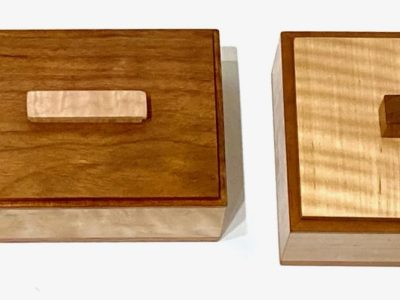 Handcrafted Wooden Boxes Various woods From Left to Right Koa Wood, Figured Maple & Jatoba, Curly Maple & Cherry, Curly Maple & Jatoba
