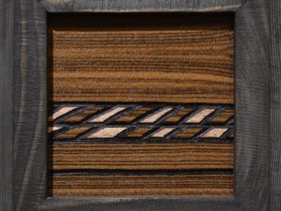 """What Dark Has Dimmed"" A Prairie Seen #134 Lacquer and Metal Gilding on Louro Preto Veneer 4.375"" x 4.375"""