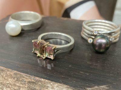 Freshwater Pearl & Sterling Silver Watermelon Tourmaline, 14kt Gold, & Sterling Silver  Black Tahitian Pearl, 2.6mm diamonds x 3, 14kt gold