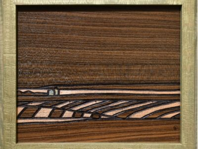 """""""Moonglow"""" A Prairie Seen #131 Lacquer and Metal Gilding on Louro Preto Veneer 8.625"""" x 10.375"""""""